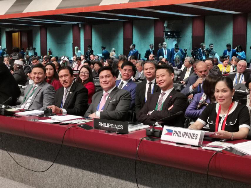 "Seatmate senators with Senate President Vicente ""Tito"" Sotto III at the Assembly of IPU in Belgrade, Serbia"