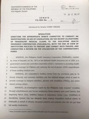 PS Resolution 3, INQUIRY INTO ALL PHILHEALTH-RELATED SCAMS filed by Sen Sonny Angara