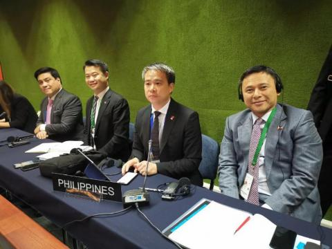 Seatmates at the IPU. Senators Sonny Angara, Joel Villanueva, Sherwin Gatchalian and Majority Leader Juan Miguel Zubiri