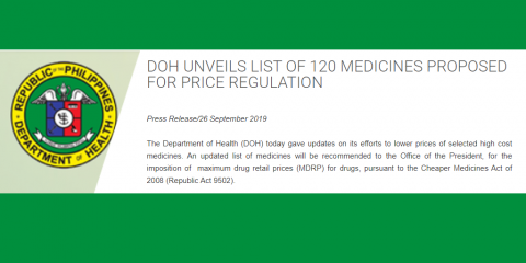 Department of Health press release on price ceiling