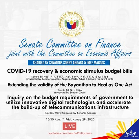 Senate to Consult the Private Sector in the Hearing on the Recovery and Economic Stimulus Bills-- Angara