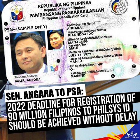 Senator Sonny Angara said today he expects the Philippine Statistics Authority (PSA) to be able to fulfill its target of registering all 90 million Filipinos for the Philippine Identification System ID (PhilSys ID) before President Rodrigo Duterte ends his term in 2022.