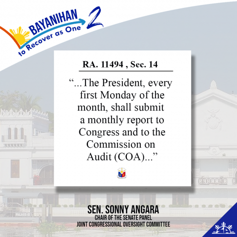 The President's first report on the implementation of the Bayanihan 2