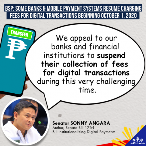 Angara calls for extension of waiver on fees for digital transactions of banks and mobile payment services