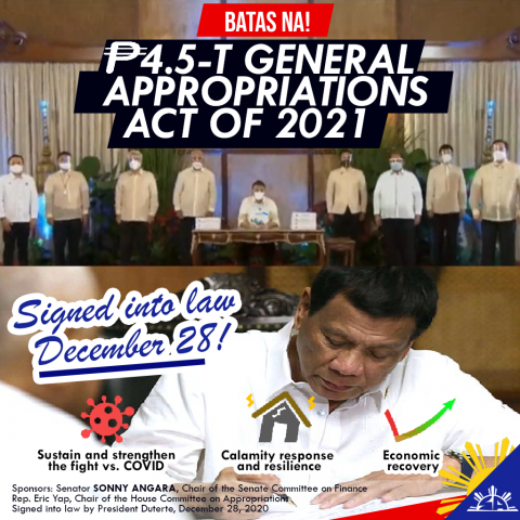 Statement of Sen. Sonny Angara on the signing of the 2021 GAA