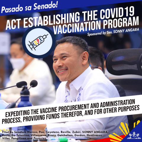 Immunization of the population expected to begin with the approval of the COVID-19 vaccination program bill-- Angara