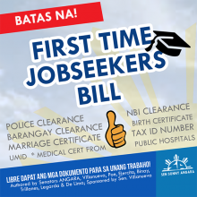 ANGARA LAUDS SIGNING OF FIRST-TIME JOBSEEKERS ACT