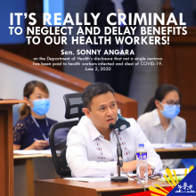 It's really criminal to neglect and delay benefits to health workers! - Angara